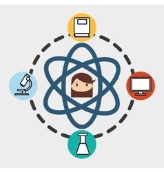 Girl school student molecule laboratory pc vector