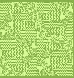 greenery chevron russian floral seamless pattern vector image