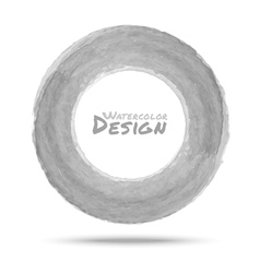 Hand drawn watercolor light gray circle design ele vector image