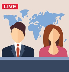 Male and female tv presenters sit at the table vector