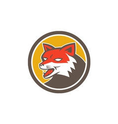 Red fox head growling circle retro vector
