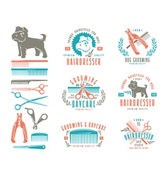 Set of hairdresser for dog Badges vector image vector image