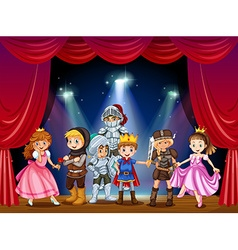 Stage play with children in costumes vector image vector image