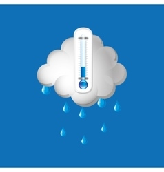 Thermometer blue icon rain cloud weather design vector