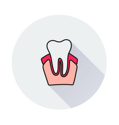 tooth icon on round background vector image