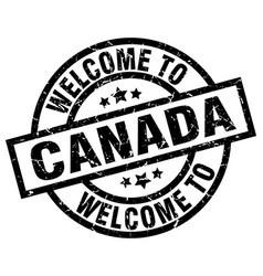 Welcome to canada black stamp vector