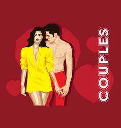Young couple romance vector