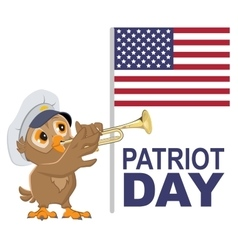 Patriot day usa owl bugler in white cap plays vector
