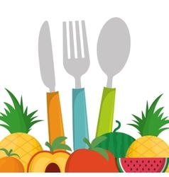 Fruits food and cutlery design vector