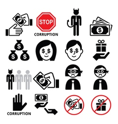 Corruption no bribes and presents corrupted vector image