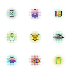 Marketing icons set pop-art style vector
