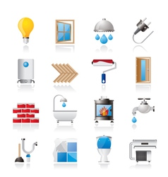 Construction and home renovation icons vector