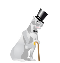 Dog in top hat vector