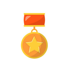 Medal with star and red ribbon vector