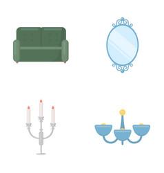 Sofa mirror candlestick chandelier vector