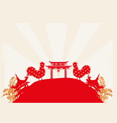 year of rooster design vector image