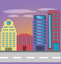 cityscape building with street metropolis vector image