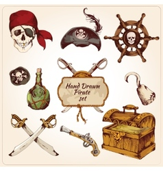 Pirates colored icons set vector