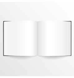 Opened blank book or magazine spread with cover vector
