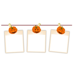 Blank photos with halloween pumpkin vector