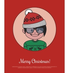 Christmas card with hipster santa in red knitted vector