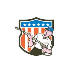 Pressure washer water blaster usa flag cartoon vector