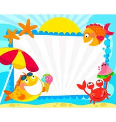 Summer fish fraem vector