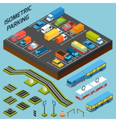 Isometric parking elements vector