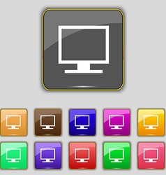 Computer widescreen monitor icon sign set with vector