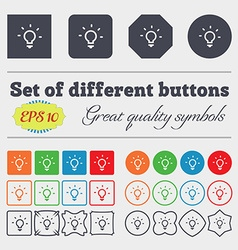 Light lamp idea icon sign big set of colorful vector