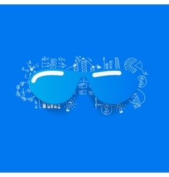 Drawing business formulas sunglasses vector