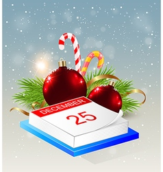 Calendar and red decorations vector