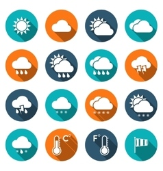 Weather icons with shadows vector