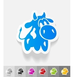 Realistic design element cow vector