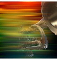 Abstract brown motion blur background with trumpet vector