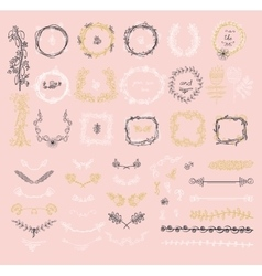 Big set of floral graphic design elements vector