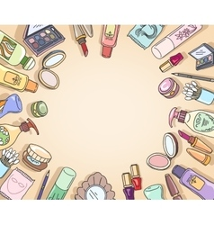 Cosmetics hand drawn top view frame vector