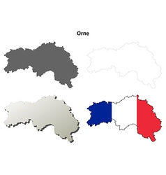 Orne lower normandy outline map set vector