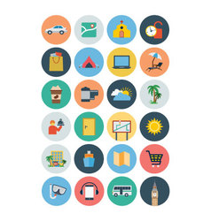 Flat travel and tourism icons 3 vector