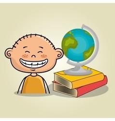 Boy student books global vector