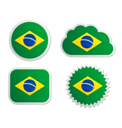 Brazil flag labels vector image vector image