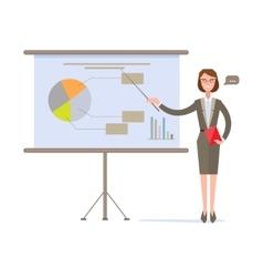 Businesswoman presenting pie chart on screen vector