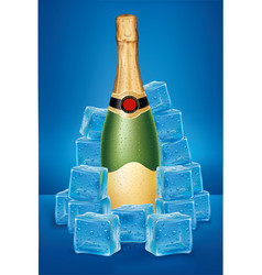 champagne bottle in ice cubes vector image vector image