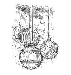 christmas balls on the tree hand drawing vector image