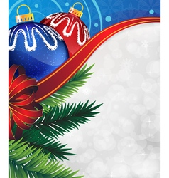 Christmas ornaments with bow and ribbon vector image vector image