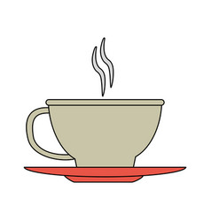 Color image cartoon cup of coffee with steam on vector