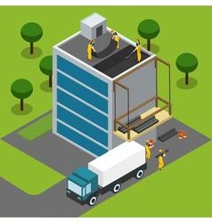 Construction workers completing building isometric vector