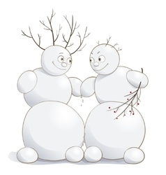 cute amorous snowmen vector image vector image