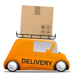 Delivery orange mini cartoon car with a box vector