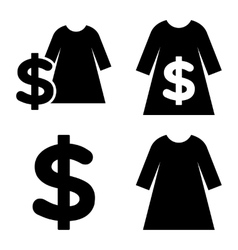 Dress shopping flat icons vector